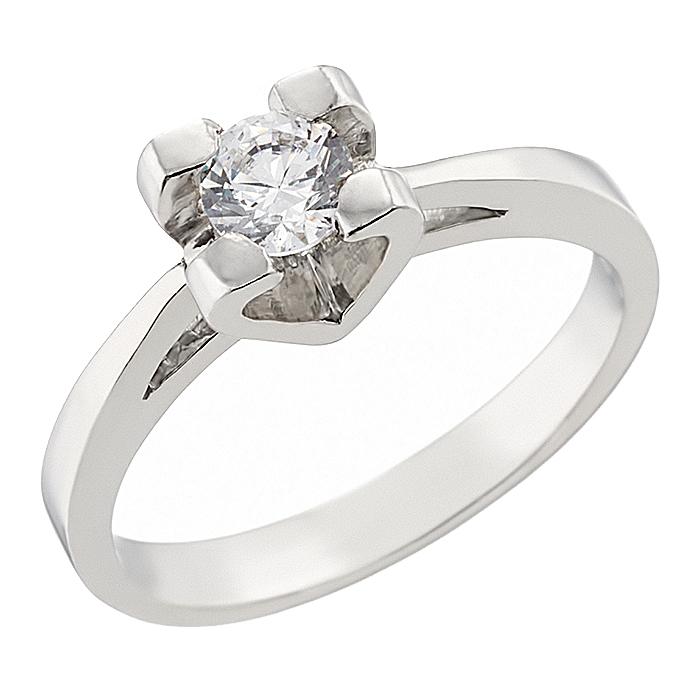 Δαχτυλίδι Μονόπετρο με Ζιργκόν Λευκόχρυσος Κ14 - 92132