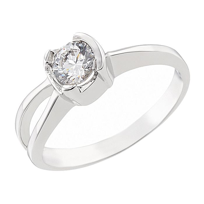 Δαχτυλίδι Μονόπετρο με Ζιργκόν Λευκόχρυσος Κ14 - 92273