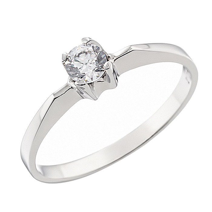 Δαχτυλίδι Μονόπετρο με Ζιργκόν Λευκόχρυσος Κ14 - 92311