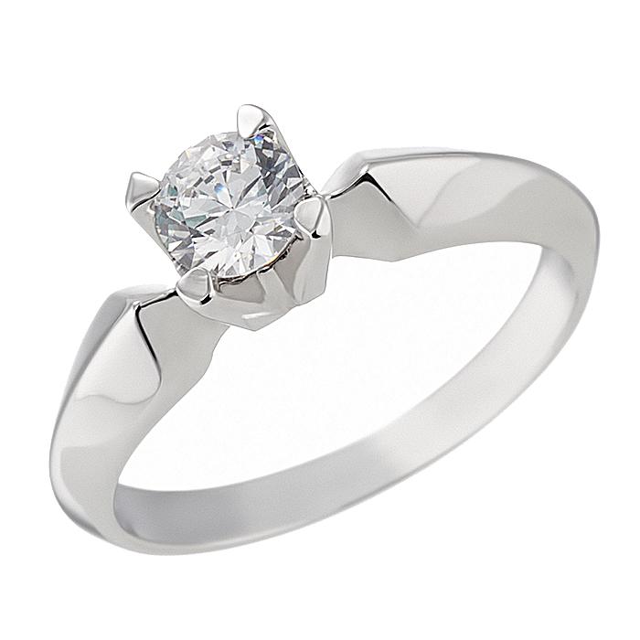 Δαχτυλίδι Μονόπετρο με Ζιργκόν Λευκόχρυσος Κ14 - 92315