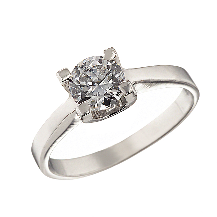 Δαχτυλίδι Μονόπετρο με Ζιργκόν Λευκόχρυσος Κ14 - 92316