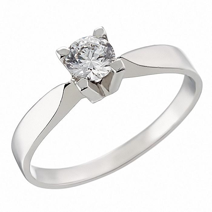 Δαχτυλίδι Μονόπετρο με Ζιργκόν Λευκόχρυσος Κ14 - 92317
