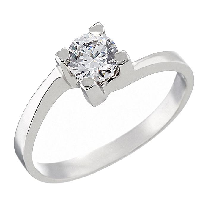 Δαχτυλίδι Μονόπετρο με Ζιργκόν Λευκόχρυσος Κ14 - 92320