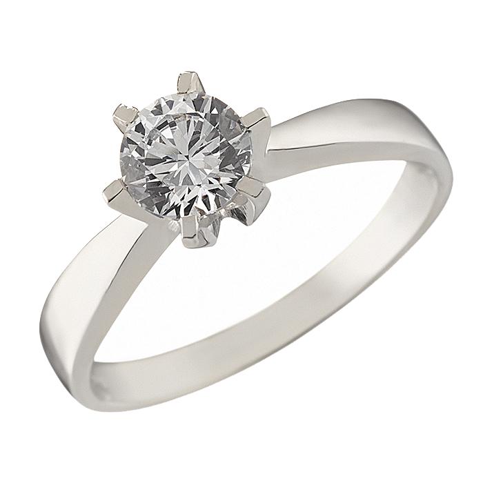Δαχτυλίδι Μονόπετρο με Ζιργκόν Λευκόχρυσος Κ14 - 92325
