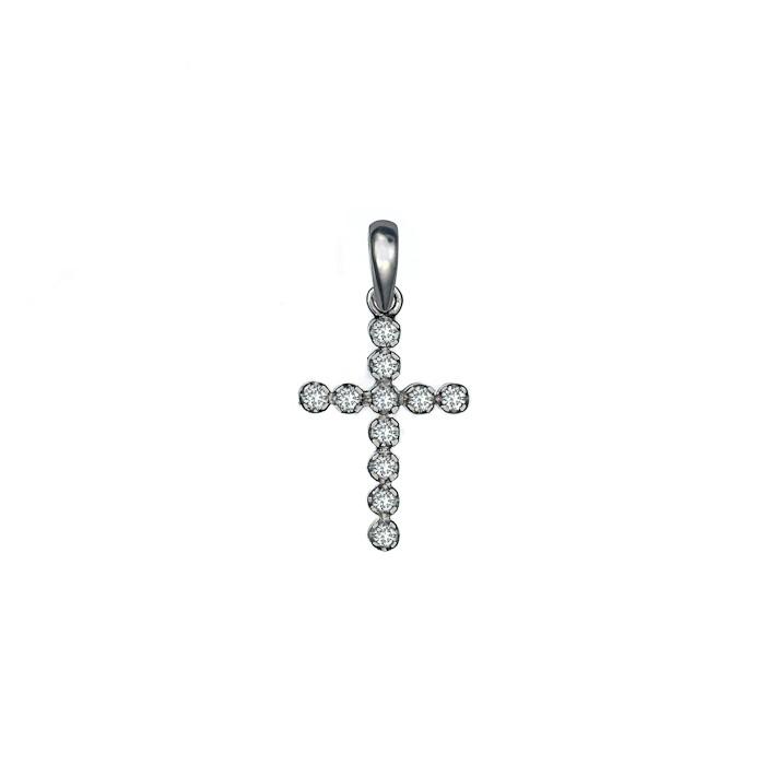 Σταυρός με Διαμάντια Λευκόχρυσος Κ18 - 07096