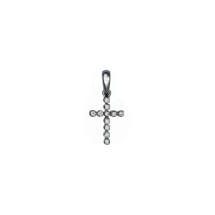 Σταυρός με Διαμάντια Λευκόχρυσος Κ18 - 07098