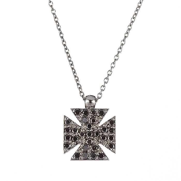 Μενταγιόν με Μαύρα Διαμάντια Λευκόχρυσος Κ18 - 11006BL