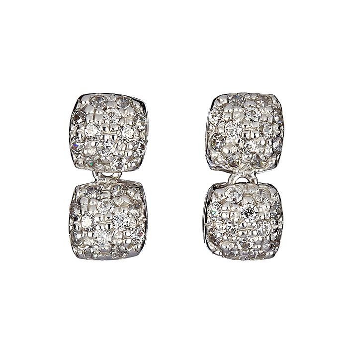 Σκουλαρίκια με Ζιργκόν Λευκόχρυσος Κ14 - 09095