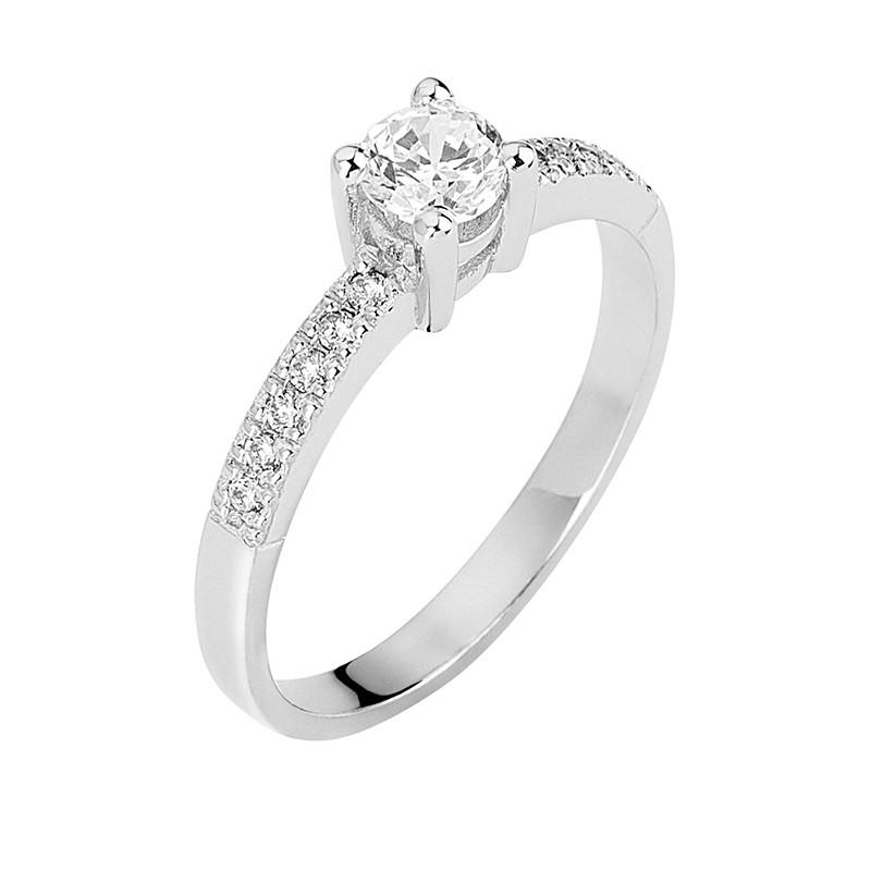Δαχτυλίδι Μονόπετρο με Διαμάντια Λευκόχρυσος Κ18 - 13073
