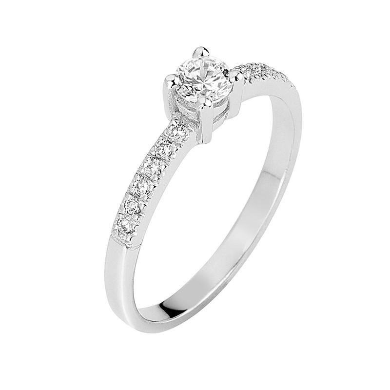 Δαχτυλίδι Μονόπετρο με Διαμάντια Λευκόχρυσος Κ18 - 13077