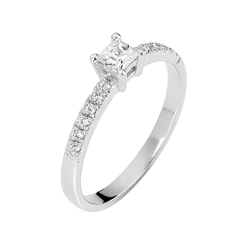 Δαχτυλίδι Μονόπετρο με Διαμάντια Λευκόχρυσος Κ18 - 13074