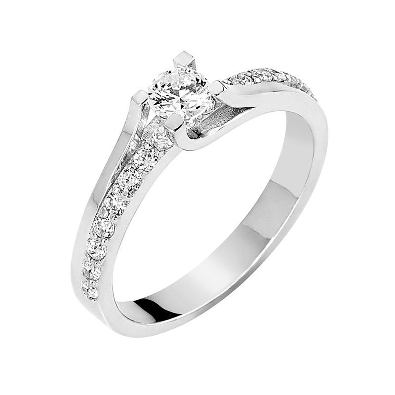Δαχτυλίδι Μονόπετρο με Διαμάντια Λευκόχρυσος Κ18 - 13063