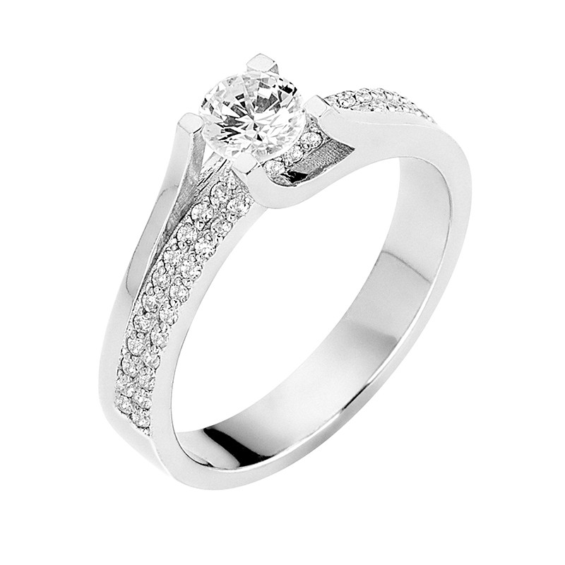 Δαχτυλίδι Μονόπετρο με Διαμάντια Λευκόχρυσος Κ18 - 13067