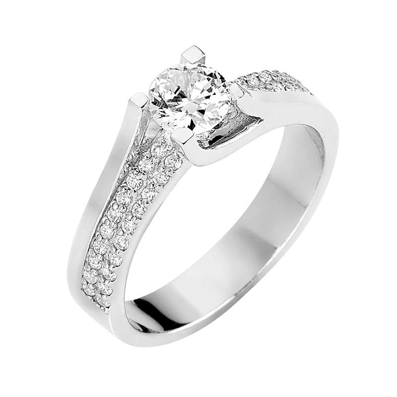 Δαχτυλίδι Μονόπετρο με Διαμάντια Λευκόχρυσος Κ18 - 13066
