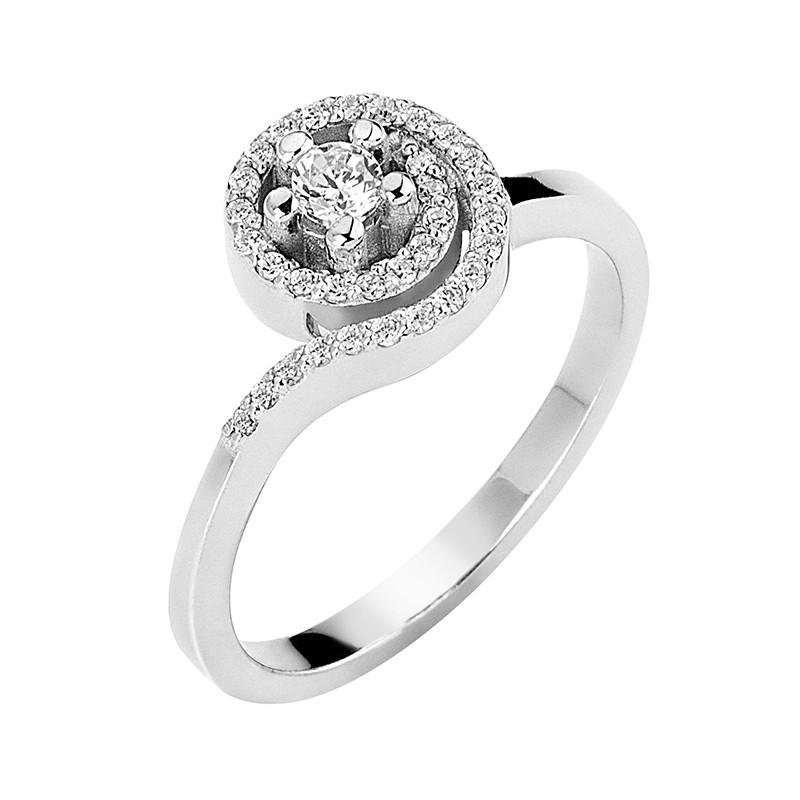 Δαχτυλίδι Μονόπετρο με Διαμάντια Λευκόχρυσος Κ18 - 13065