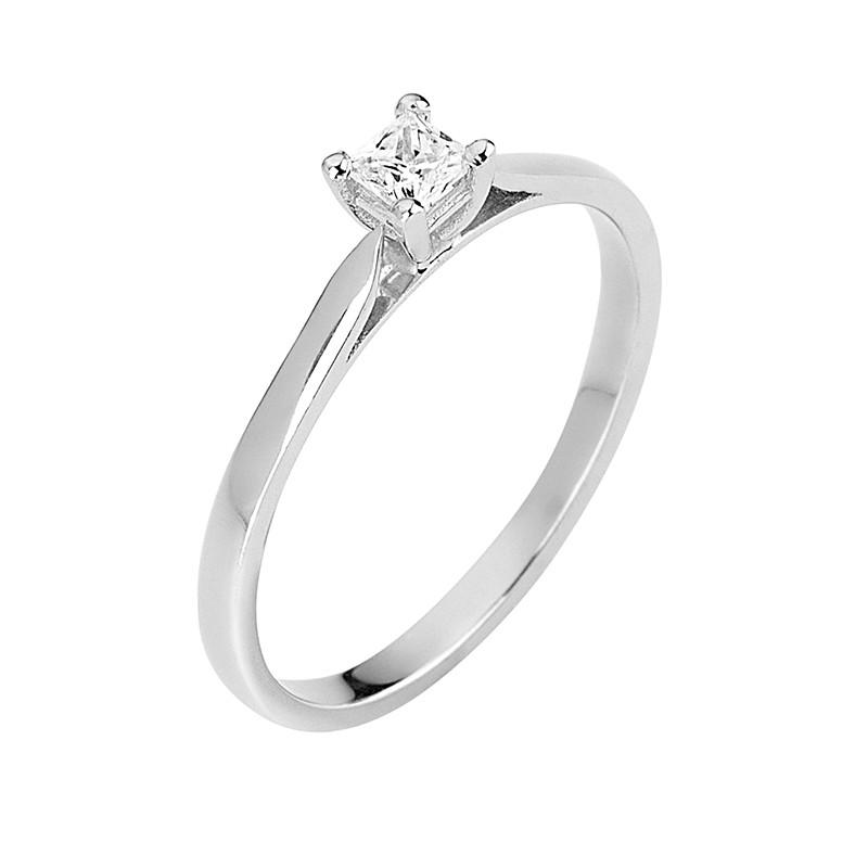 Δαχτυλίδι Μονόπετρο με Διαμάντι Λευκόχρυσος Κ18 - 13069