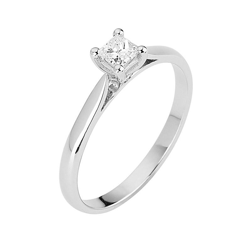 Δαχτυλίδι Μονόπετρο με Διαμάντι Λευκόχρυσος Κ18 - 13079