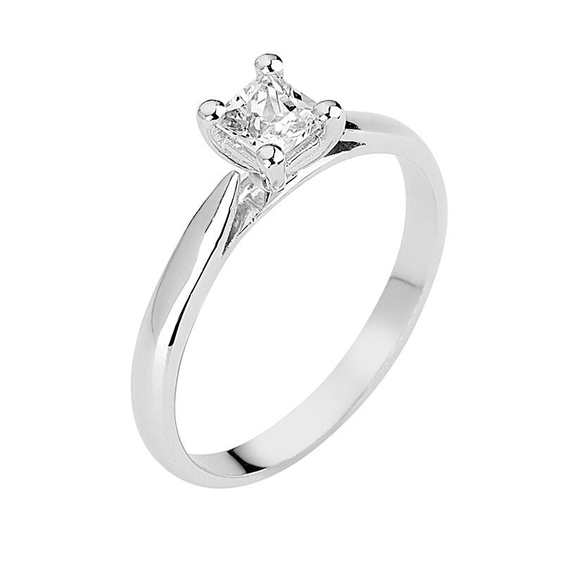 Δαχτυλίδι Μονόπετρο με Διαμάντι Λευκόχρυσος Κ18 - 13078