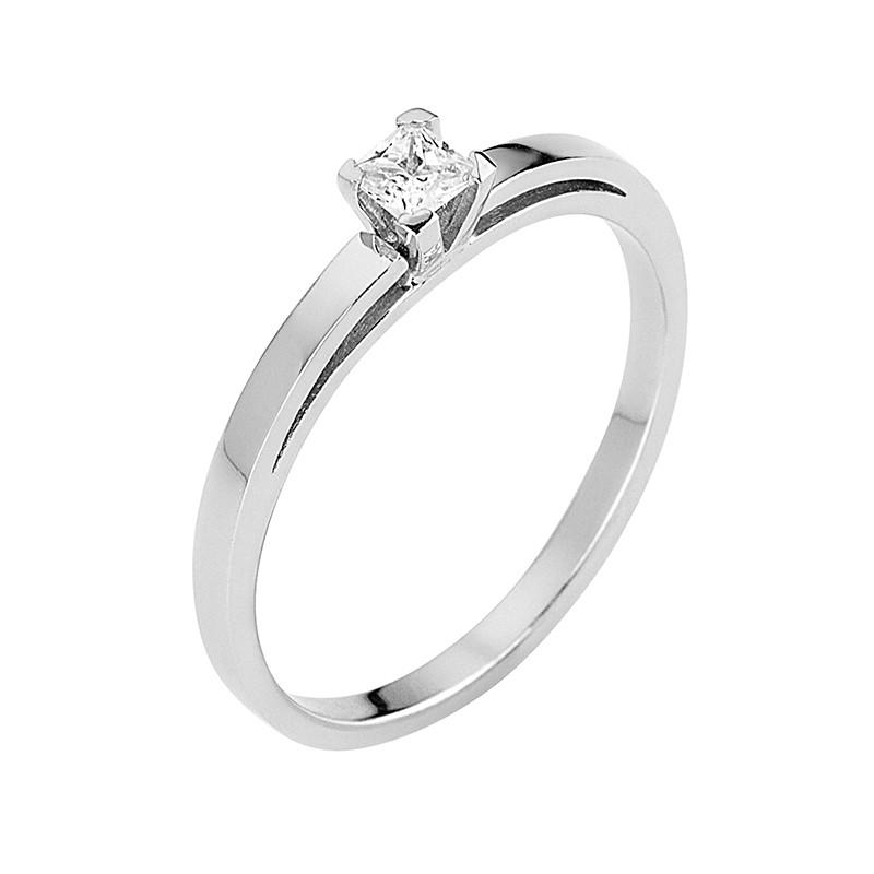 Δαχτυλίδι Μονόπετρο με Διαμάντι Λευκόχρυσος Κ18 - 13068