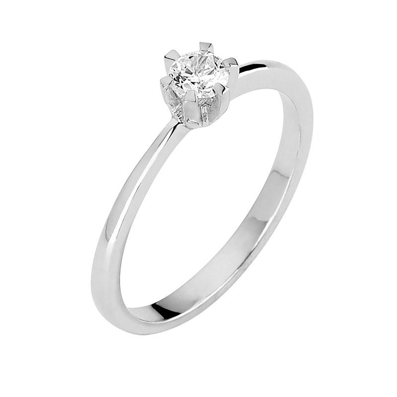 Δαχτυλίδι Μονόπετρο με Διαμάντι Λευκόχρυσος Κ18 - 13064