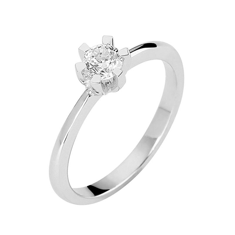 Δαχτυλίδι Μονόπετρο με Διαμάντι Λευκόχρυσος Κ18 - 13070