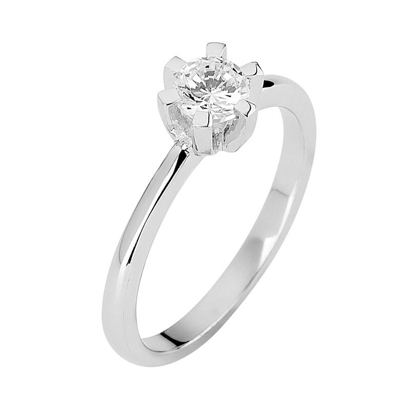Δαχτυλίδι Μονόπετρο με Διαμάντι Λευκόχρυσος Κ18 - 13071