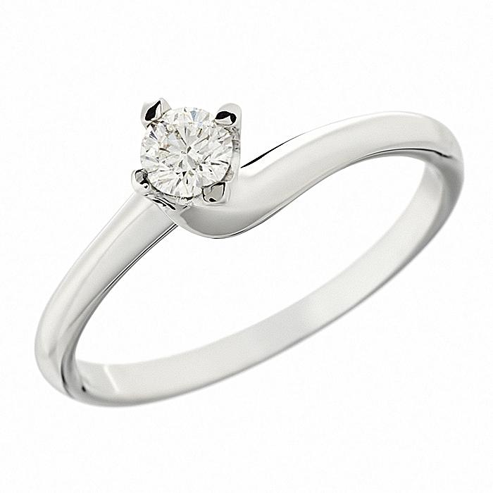 Δαχτυλίδι Μονόπετρο με Διαμάντι Λευκόχρυσος Κ18-063392R