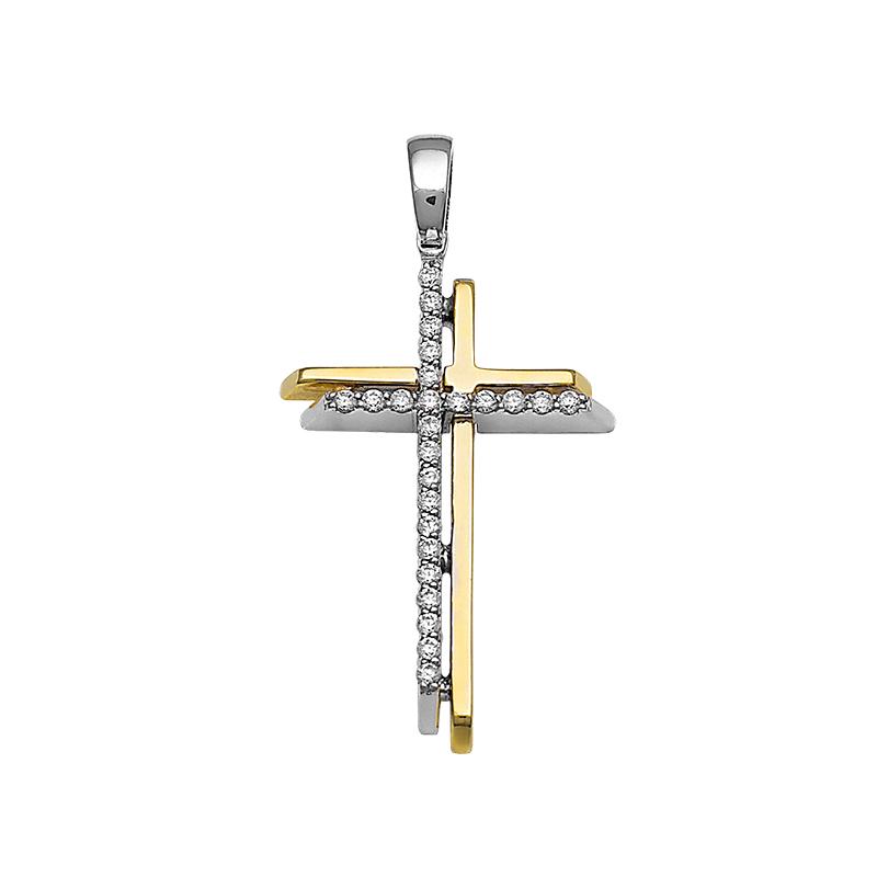 Σταυρός με Διαμάντια Χρυσός και Λευκόχρυσος Κ18 - 13085