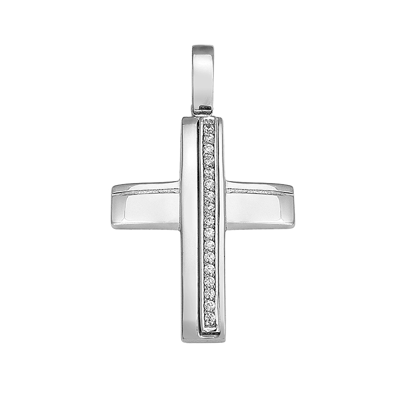 Σταυρός με Ζιργκόν Λευκόχρυσος Κ14 - 13048CZ