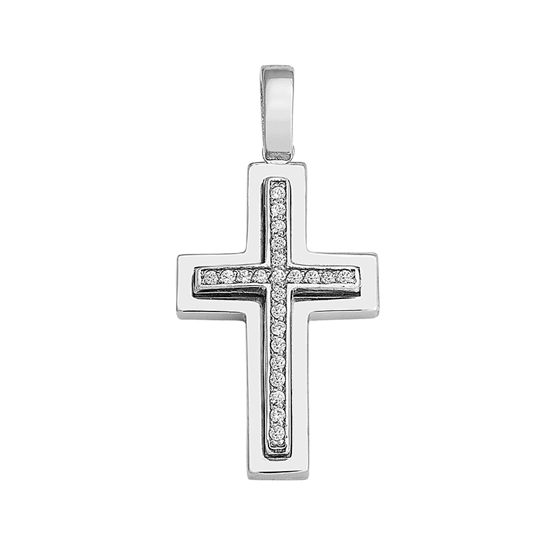 Σταυρός με Ζιργκόν Λευκόχρυσος Κ14 - 13050CZ