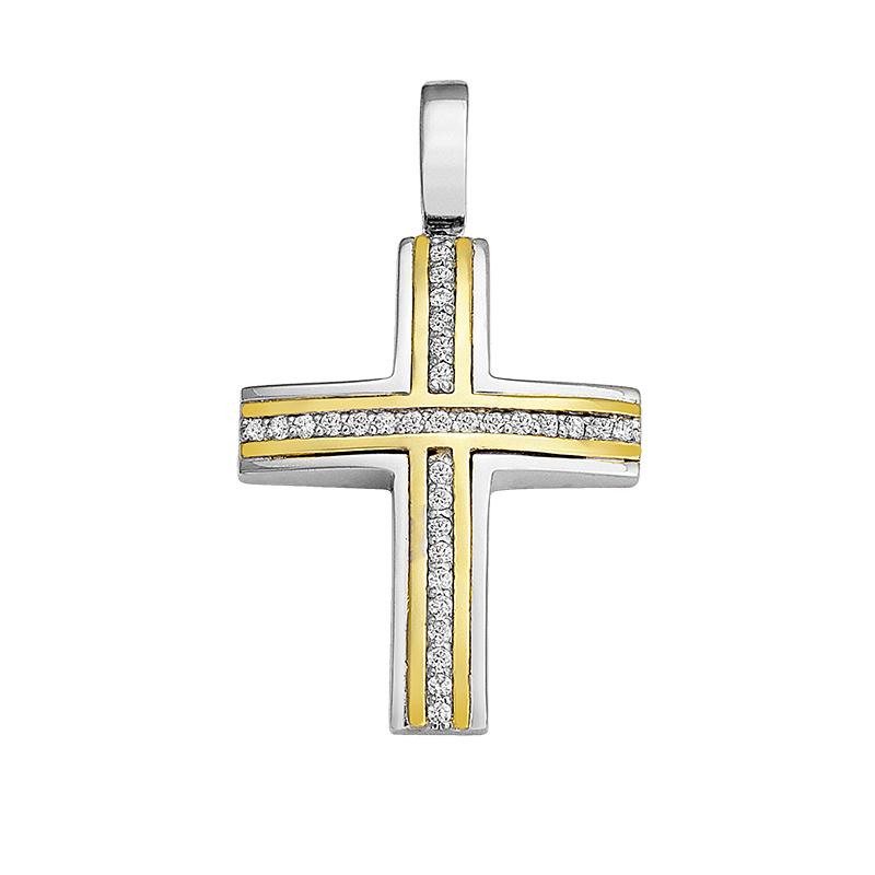 Σταυρός με Ζιργκόν Δίχρωμος Κ14 - 13053CZ