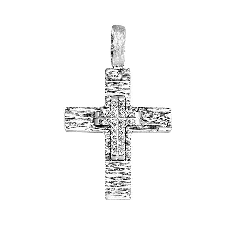Σταυρός με Ζιργκόν Λευκόχρυσος Κ14 - 13054CZ