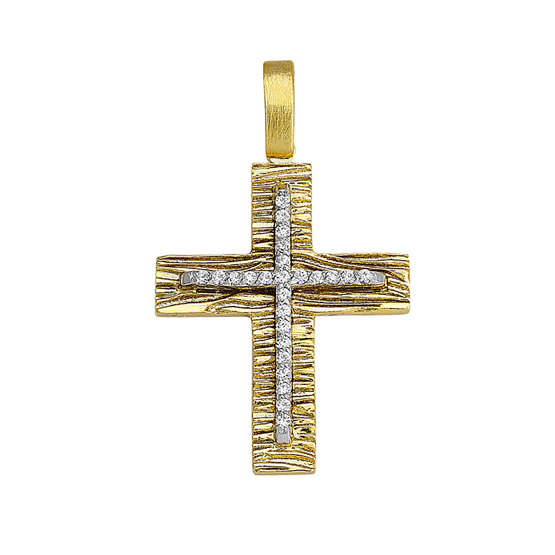 Σταυρός με Ζιργκόν Δίχρωμος Κ14 - 13055CZ
