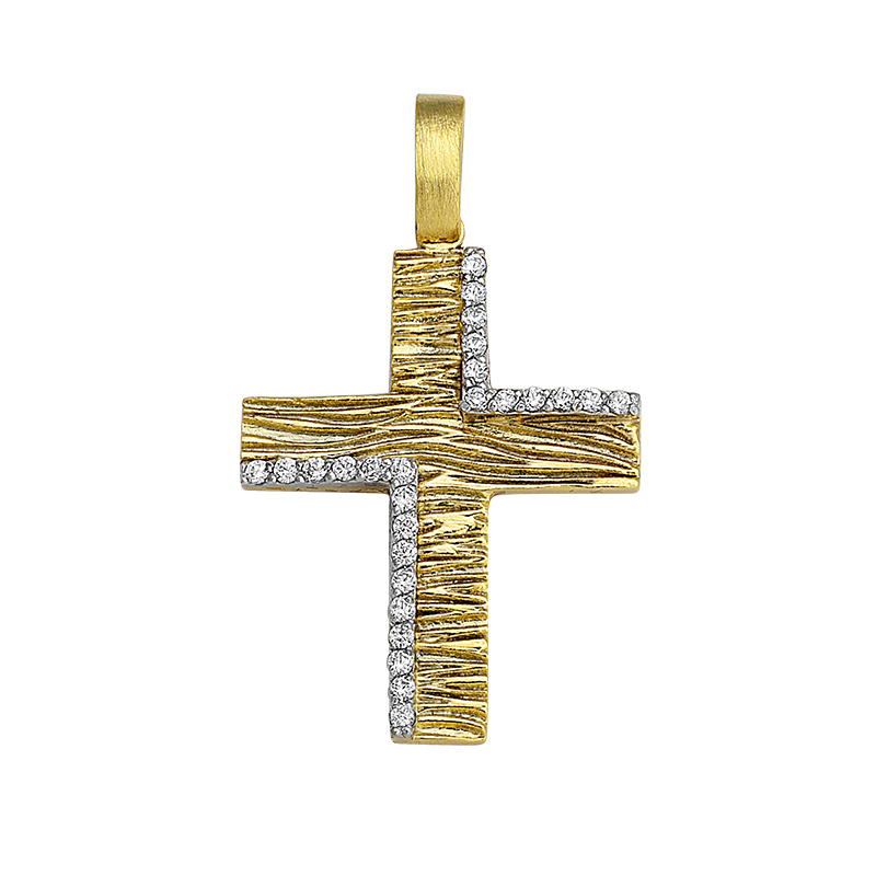 Σταυρός με Ζιργκόν Δίχρωμος Κ14 - 13056CZ