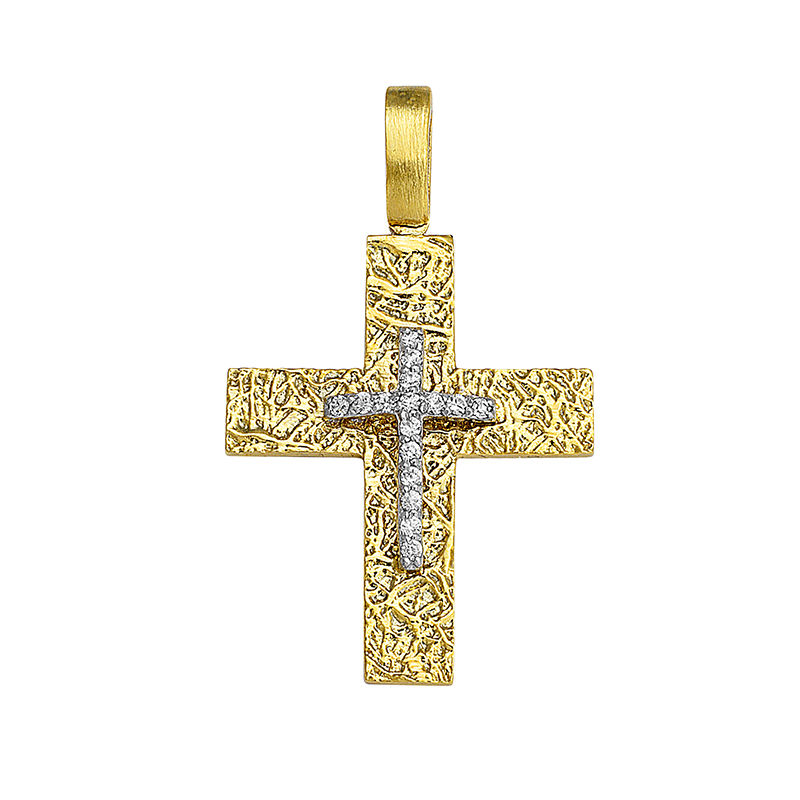 Σταυρός με Ζιργκόν Δίχρωμος Κ14 - 13057CZ