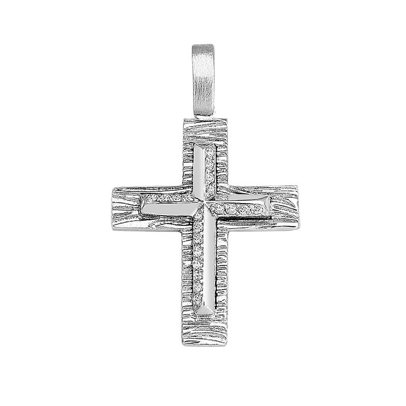 Σταυρός με Ζιργκόν Λευκόχρυσος Κ14 - 13059CZ