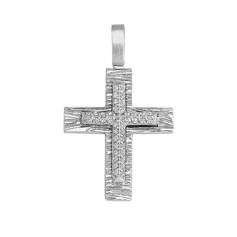 Σταυρός με Ζιργκόν Λευκόχρυσος Κ14 - 13060CZ