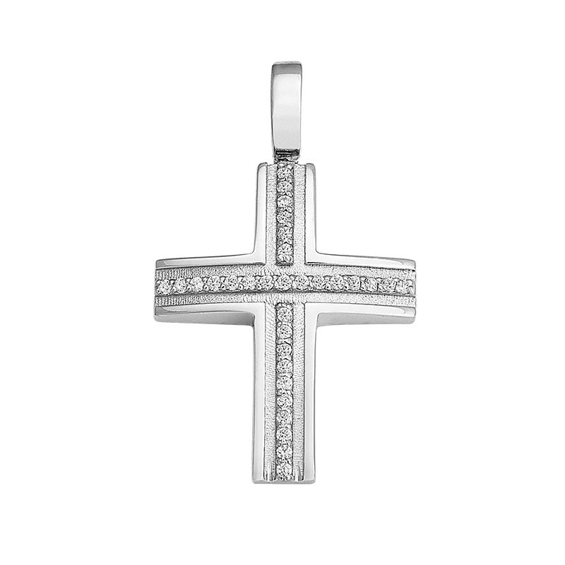 Σταυρός με Ζιργκόν Λευκόχρυσος Κ14 - 13061CZ
