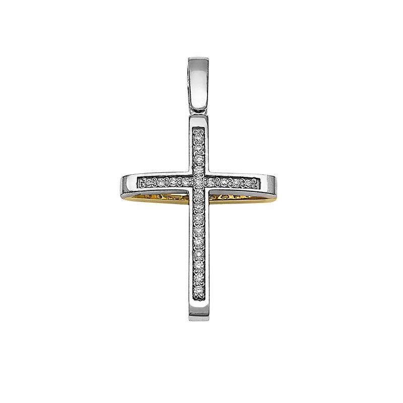 Σταυρός με Ζιργκόν Διπλής 'Οψης Χρυσός και Λευκόχρυ. Κ14 - 13082