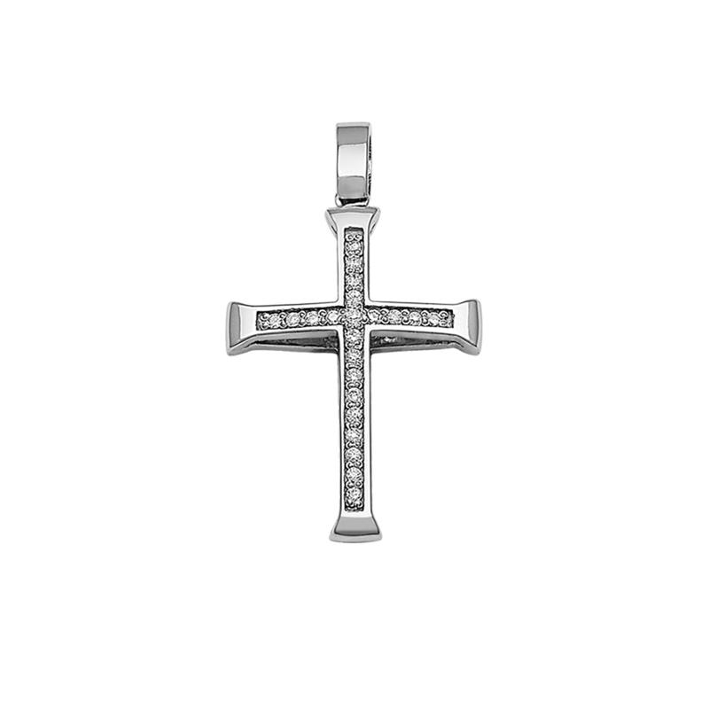 Σταυρός με Ζιργκόν Διπλής 'Οψης Λευκόχρυσος Κ14 - 13083