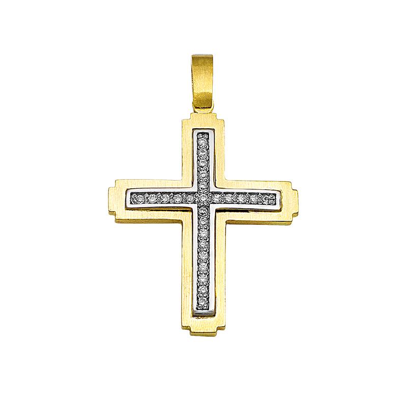 Σταυρός με Ζιργκόν Διπλής 'Οψης Χρυσός και Λευκόχρυσος Κ14 - 130