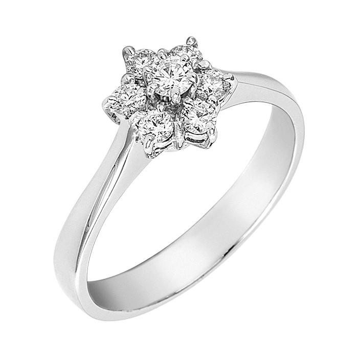 Δαχτυλίδι με Διαμάντια Λευκόχρυσος Κ18 - 05372