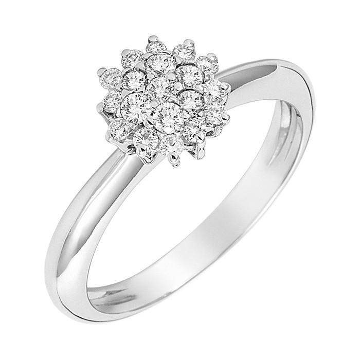 Δαχτυλίδι με Διαμάντια Λευκόχρυσος Κ18 - 04339