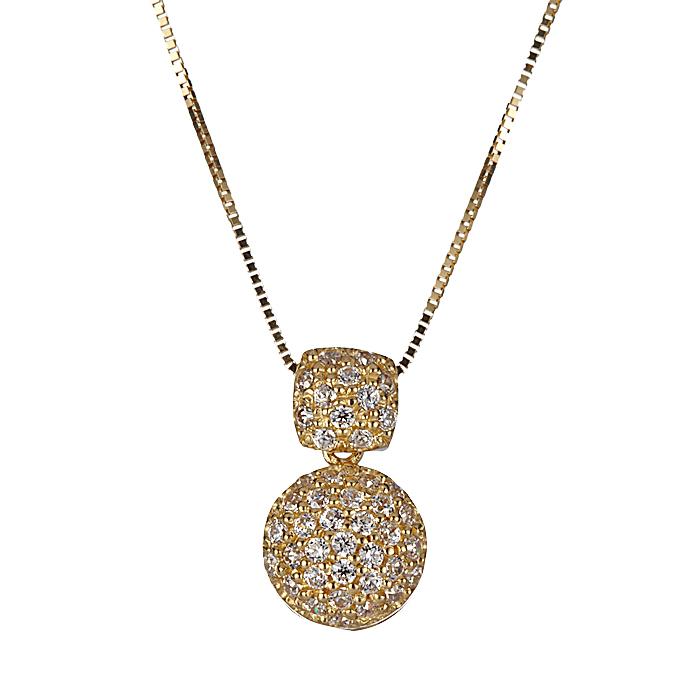 Κολιέ με Ζιργκόν Χρυσός Κ14 - 09100