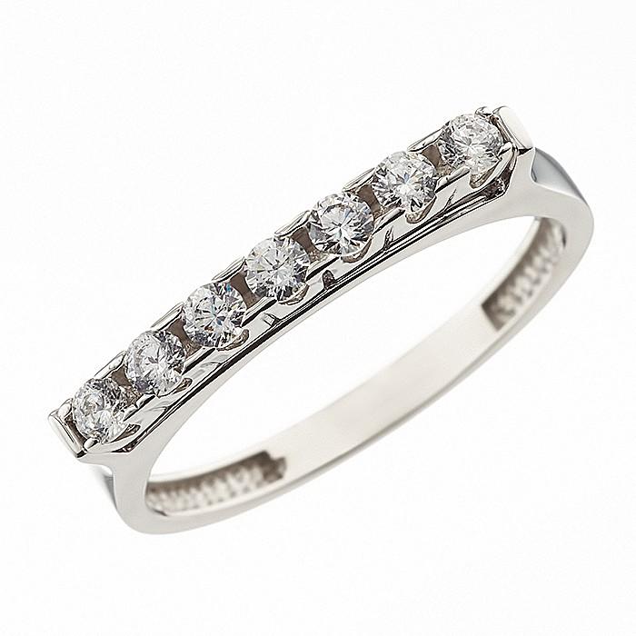 Δαχτυλίδι Μισόβερο με Ζιργκόν Λευκόχρυσος Κ14 - 08224