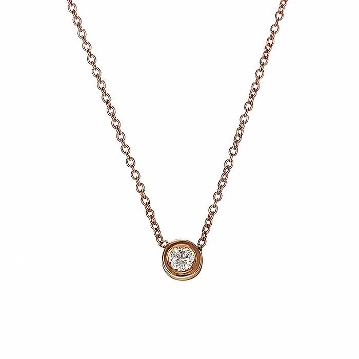 Μονόπετρο Μενταγιόν με Διαμάντι Ροζ Χρυσός Κ18 - 10000