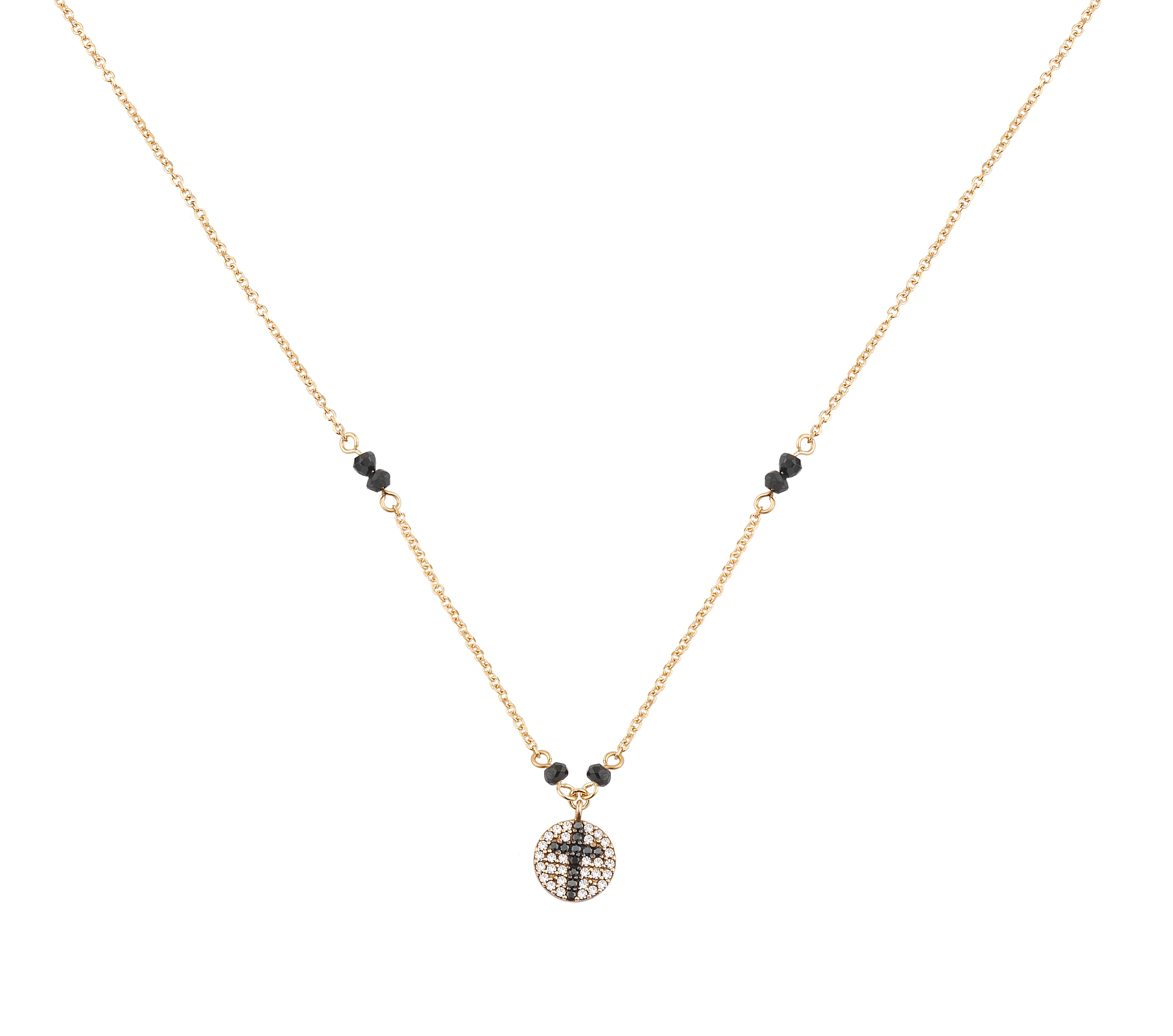 Κολιέ με Ζιργκόν Ροζ Χρυσός Κ9 - 10281