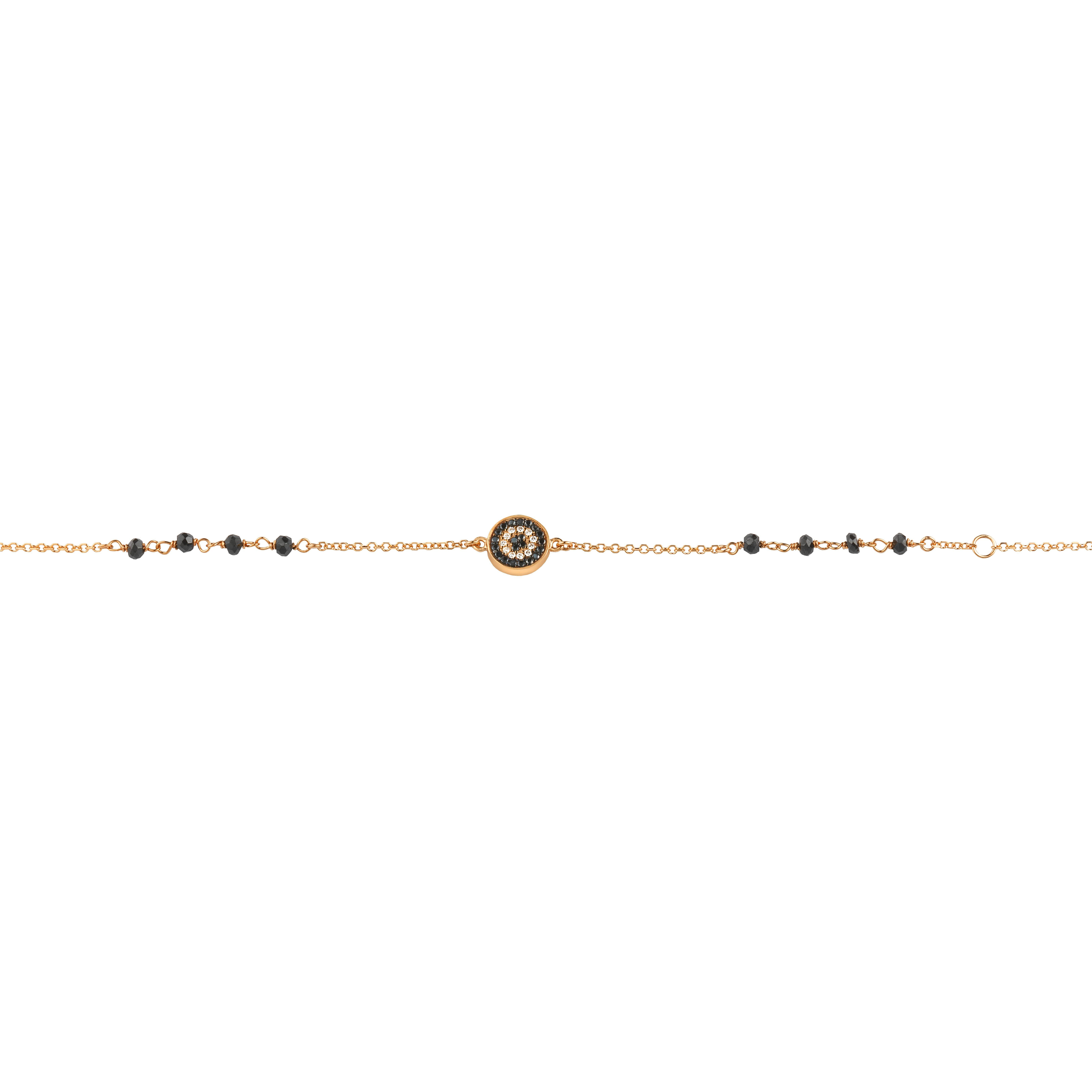 Βραχιόλι με Μαύρα Ζιργκόν Ροζ Χρυσός Κ9 - 10200