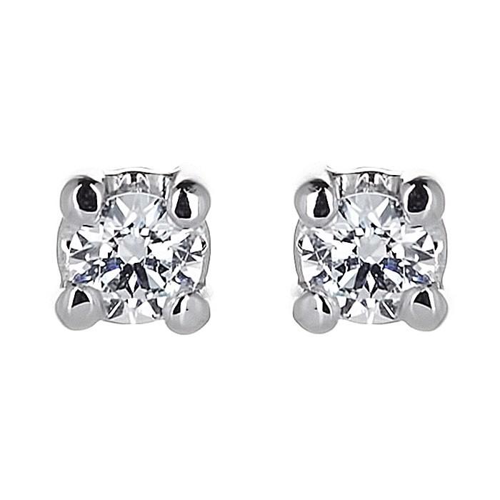 Σκουλαρίκια Μονόπετρα με Διαμάντια Λευκόχρυσος Κ18 - 31101A