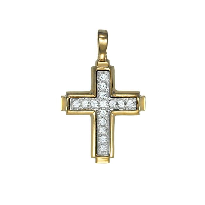 Σταυρός με Ζιργκόν Δίχρωμος Κ14 - 06093